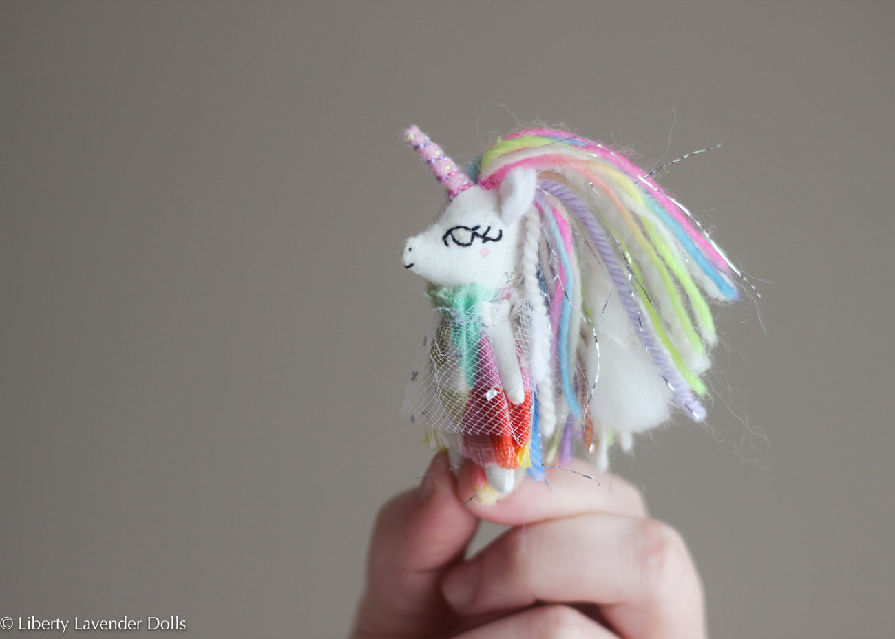 Miniature Rainbow Unicorn Pegasus, Itty bitty doll, about 2.75 inches tall