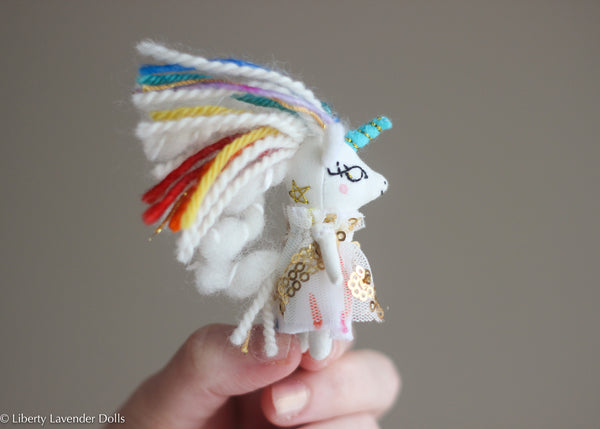 Miniature Rainbow Unicorn, Itty bitty doll, about 2.5 inches tall, please read description.