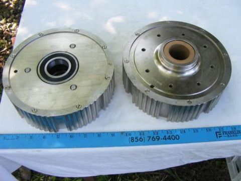 lot of 2 Sheave Belt Pulley Gear stamped 50062-10 and 50061-16 w Bearing