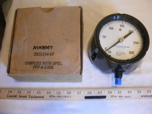 "ASHCROFT 4 1/2"" 202A244-67 GAUGE, 316 TUBE, MAX 300 PSI, 1/2"" NPT, NEW IN BOX"