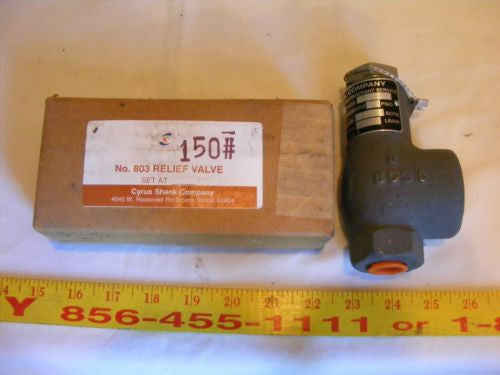 "Cyrus Shank Co. Type 803 Safety Relief Valve 150 PSIG Inlet 1/2"" 355 SCFM"