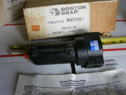 Boston Gear Fluid Power EN61230-MG EN61231-MG compressed air filter 250 psi at 1