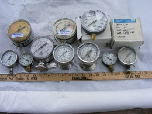 Lot of 12 Misc Gauges 4 NIB Ashcroft 0-160 PSI See Pictures