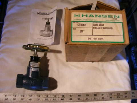 "Hansen GT076H 3/4"" Globe Valve/Shut-Off Valve w/Threaded Handwheel NIB See Pics"