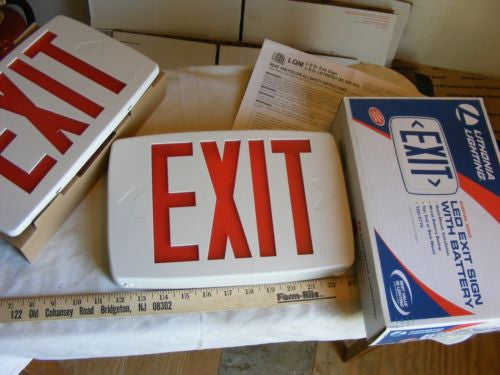 Lithonia Lighting LED Exit Sign LQM-S-W-3-R-120/277-EL-N-M6 W/Extra Face Plate