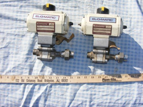 "Lot of 2 SS Ball valves 3/4"" inch butt weld with Elomatic actuator ESN 25 A N4"