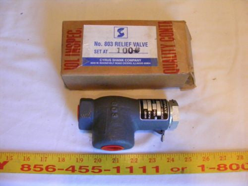 "Cyrus Shank Co. Type 803 Safety Relief Valve 100 PSIG Inlet 1/2"" 246 SCFM"