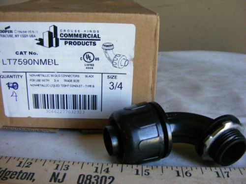 "Crouse-Hinds LT7590NMBL Non-Metalic 90 Deg Connector 3/4"" Type B Qty 7 NIB"