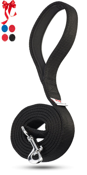 PetsLoversClub by Dutchy Brand Black Dog Leash - Sturdy Nylon Strap - Padded Handle - 6 Feet Long by 1 Inch Wide