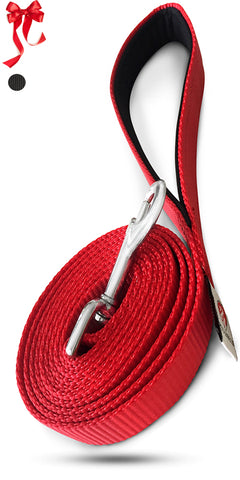 PetsLoversClub Red Dog Leashes for Small and Medium Dogs - Comfortable Padded Handle - Perfect Length to Control Strong Puppy that Likes to Pull - Great Training Lead for Canine - 6 Feet Long by 1 Inch Wide