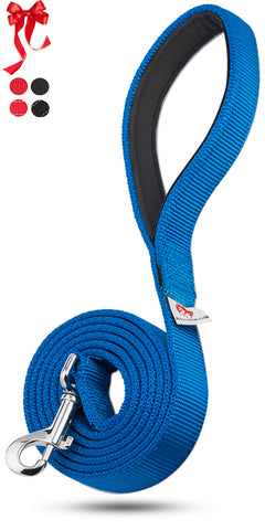 PetsLoversClub by Dutchy Brand Blue Dog Leashes for Large and Medium Dogs - Extra Durable Webbing - Padded Handle - 6 Feet Long by 1 Inch Wide