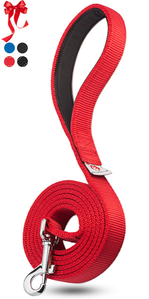 PetsLoversClub by Dutchy Brand Red Dog Training Leash - Comfortable Padded Handle to Hold Strong Dogs - Perfect Length to Walk and Train Puppy - Beautiful Great Gift for First Time Owners - 6 Feet Long x 1 Inch Wide