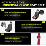PetsLoversClub by Dutchy Brand Dog Seat Belt - Premium Webbing - Reflective Lines - Adjustable Length 15-25 Inches for Small and Medium Dogs