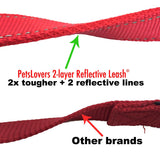 PetsLovers 2-layer 6ft Dog Leash - Reflective Red - Pets Lovers Club - 2
