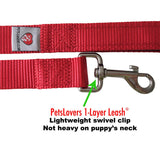 PetsLovers 1-layer 6ft Dog Leash - Red - Pets Lovers Club - 2