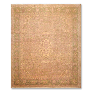 "8'10""x9'10"" Dirty Beige Sage Green, Tan, Multi Color Hand Knotted Persian Oriental Area Rug 100% Wool Traditional Oriental Rug"
