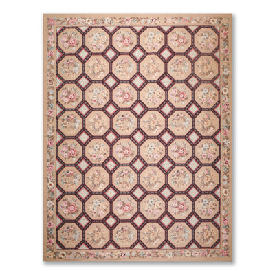 9'x12' Tan Chocolate Rust, Pale Pink, Aqua, Olive, Multi Color Hand Woven Needlepoint Area Rug 100% Wool Traditional Oriental Rug
