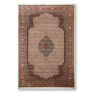 "6'5""x9'10"" Beige Rust Blue, Brown, Tan, Black, Multi Color Hand Knotted Persian Oriental Area Rug Wool Traditional Oriental Rug"