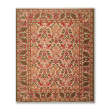 "7'9""x8'10"" Dirty Beige Green Rust, Red, Aubergene, Brown, Peach, multi Color Hand Knotted Persian Oriental Area Rug 100% Wool Traditional Oriental Rug"