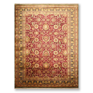 "9'1""x12'5"" Burgundy Green Gold, Tan, Multi Color Hand Knotted Persian Oriental Area Rug 100% Wool Traditional Oriental Rug"