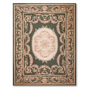 "9'x12'2"" Green Beige Taupe, Rose, Brown, Multi Color Hand Woven Needlepoint Area Rug 100% Wool Traditional Oriental Rug"