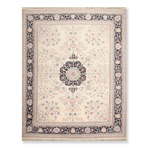 "8'x9'10"" Ivory Black  Blue, Rose, Aqua, Tan, Multi Color Hand Knotted Persian Oriental Area Rug 100% Wool Traditional Oriental Rug"