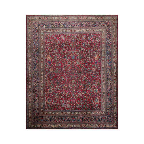 10' 9''x12' 10'' Plum Navy Beige Color Hand Knotted Persian 100% Wool Traditional Oriental Rug