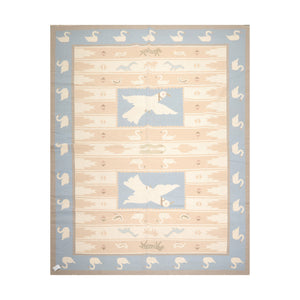8' 11''x12' 2'' Ivory Tan Blue Color Hand Woven Flat Weave 100% Wool Traditional Oriental Rug