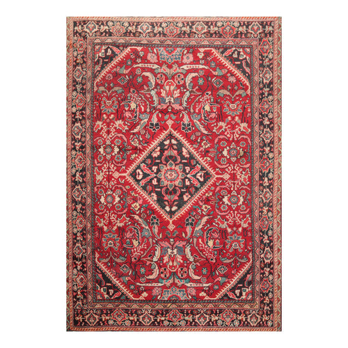 6' 11''x10' 3'' Red Charcoal Beige Color Hand Knotted Persian 100% Wool Traditional Oriental Rug
