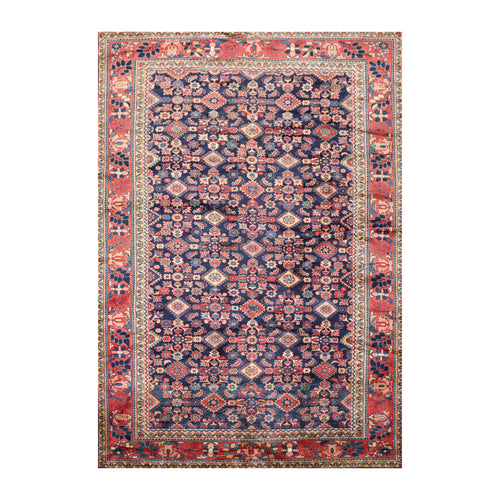 7' 1''x10' 9'' Navy Salmon Ivory Color Hand Knotted Persian 100% Wool Traditional Oriental Rug