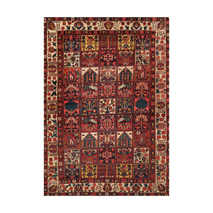 7' 2''x10' 2'' Red Rust Ivory Color Hand Knotted Persian 100% Wool Traditional Oriental Rug