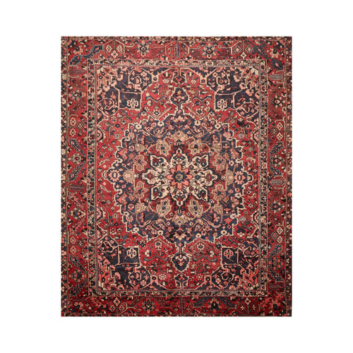 10' 5''x11' 10'' Rust Ivory Blue Color Hand Knotted Persian 100% Wool Traditional Oriental Rug