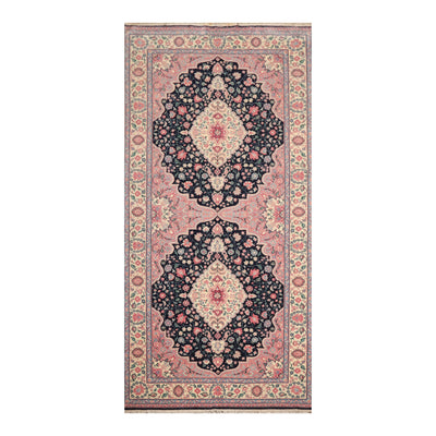 6' 1''x13' 8'' Navy Ivory Rose Color Hand Knotted Persian 100% Wool Traditional Oriental Rug