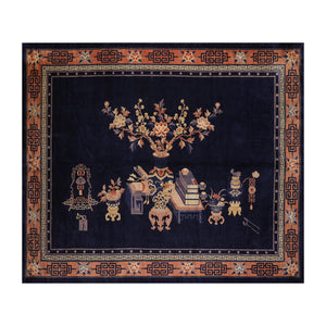 9' 1''x12'  Navy Peach Beige Color Hand Knotted Persian 100% Wool Traditional Oriental Rug