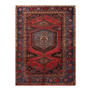 7' 5''x11' 1'' Burnt Orange Charcoal Gold Color Hand Knotted Persian 100% Wool Traditional Oriental Rug