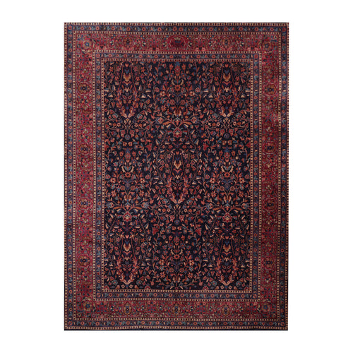 8' 10''x11' 9'' Navy Plum Beige Color Hand Knotted Persian 100% Wool Traditional Oriental Rug