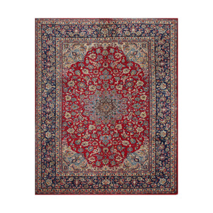 9' 3''x12' 1'' Red Navy Beige Color Hand Knotted Persian 100% Wool Traditional Oriental Rug