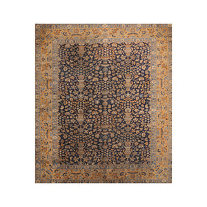 8' 8''x11' 10'' Navy Gold Blue Color Hand Knotted Persian 100% Wool Traditional Oriental Rug