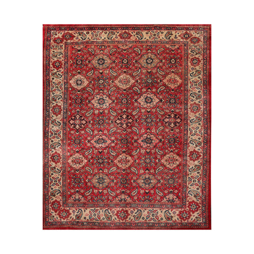 8' 10''x11' 7'' Red Rust Beige Color Hand Knotted Persian 100% Wool Traditional Oriental Rug