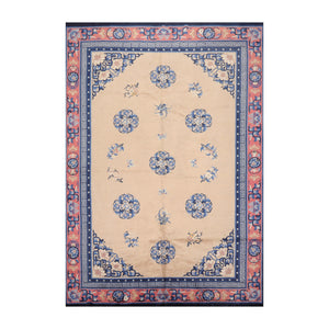 6' 7''x9' 8'' Beige Navy Rose Color Hand Knotted Persian 100% Wool Traditional Oriental Rug