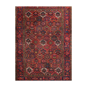 7' x10' 4'' Rust Red Blue Color Hand Knotted Persian 100% Wool Traditional Oriental Rug