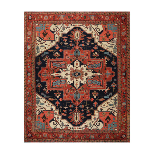 8' x9' 3'' Navy Ivory Burnt Orange Color Hand Knotted Persian 100% Wool Traditional Oriental Rug