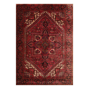 6' 9''x9' 7'' Rust Red Green Color Hand Knotted Persian 100% Wool Traditional Oriental Rug
