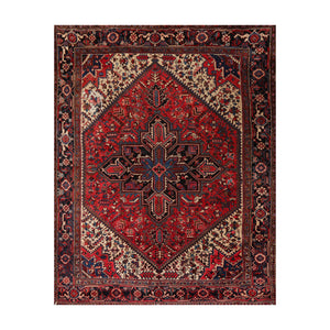 8' 3''x10'  Red Orange Ivory Color Hand Knotted Persian 100% Wool Traditional Oriental Rug