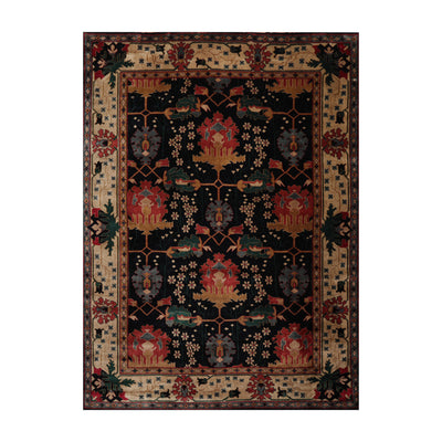 9' 1''x11' 9'' Navy Beige Peach Color Hand Knotted Persian 100% Wool Traditional Oriental Rug