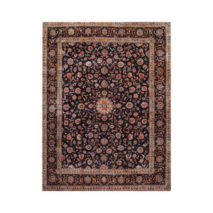 9' x12' 6'' Navy Beige Gold Color Hand Knotted Persian 100% Wool Traditional Oriental Rug