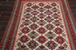 "5'3""x8'6"" Beige Red Blue, Green, Charcoal, Brown, Multi Color Hand Knotted Persian Oriental Area Rug Wool Traditional Oriental Rug"