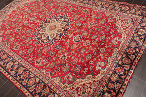 "6'9""x10' Red  Charcoal Light Gold, Grey, Brown, Blue, Multi Color Hand Knotted Persian Oriental Area Rug Wool Traditional Oriental Rug"