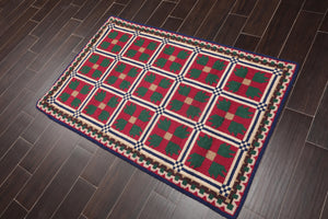 "3'4""x5'2"" Magenta Green Ivory, Blue, Brown Color Hand Hooked Oriental Area Rug Wool Traditional Oriental Rug"