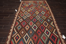 "4'6""x11'8"" Brown Blue Beige, Aqua, Rose, Multi Color Hand Woven Persian Oriental Area Rug Wool Traditional Oriental Rug"